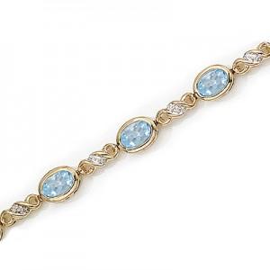 10K Yellow Gold Oval Aquamarine and Diamond Bracelet