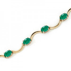 10K Yellow Gold Oval Emerald Bracelet