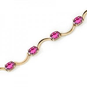 10K Yellow Gold Oval Pink Topaz Bracelet