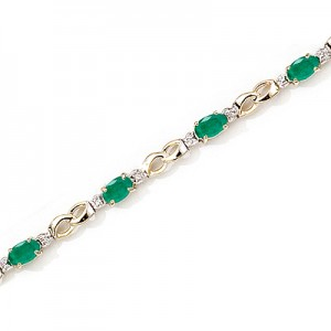 14K Yellow Gold Oval Emerald and Diamond Bracelet
