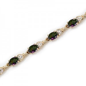 14K Yellow Gold Oval Mystic Topaz and Diamond Bracelet