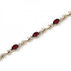 14K Yellow Gold Oval Garnet and Diamond Bracelet