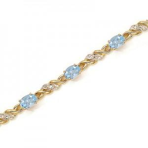14K Yellow Gold Oval Aquamarine and Diamond Bracelet