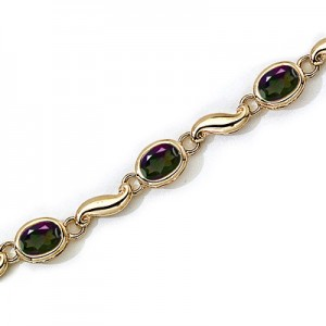 14K Yellow Gold Oval Mystic Topaz Bracelet