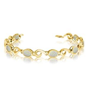 14K Yellow Gold Oval Opal Bracelet