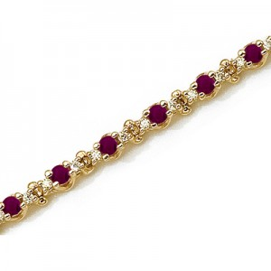 14K Yellow Gold Round Ruby and Diamond Bracelet