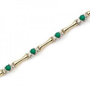 14K Yellow Gold Round Emerald and Diamond Bracelet