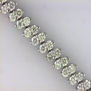 14k Yellow Gold Diamond Double Row Offset Tennis Bracelet