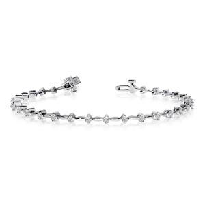 14k White Gold 1 Ct Diamond Bar Bracelet