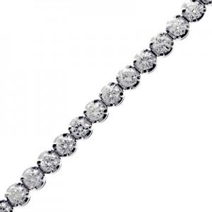 14K White Gold Four Prong 3.9 Ct Diamond Bracelet