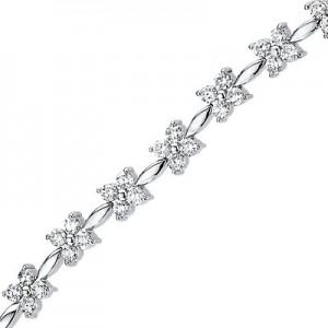 14K White Gold 2.94 Ct Diamond Star Bracelet