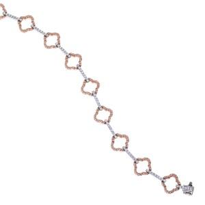 14k Rose and White Gold Clover Fashion Bracelet