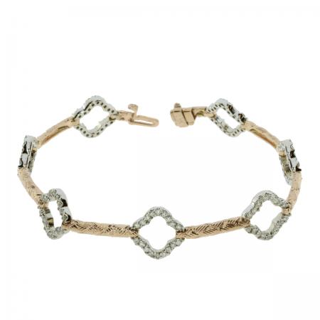 14k Two Tone Flower Bar Bracelet