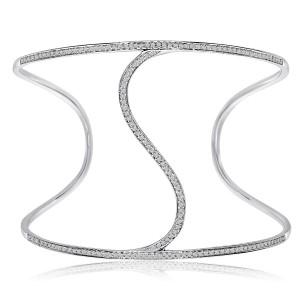 14K White Gold ^S^ Cuff Diamond Bracelet