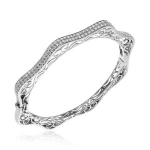 14K White Gold 2.4 Ct AA Diamond Filigree Wave Fashion Bangle Bracelet