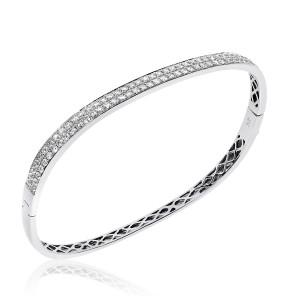 14K White Gold 1.84 Ct AA Diamond Double Row Fashion Bangle Bracelet