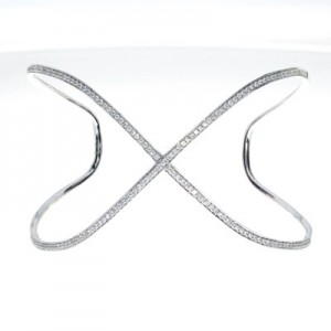 14K White Gold .77 Ct Diamond Open X Large Fashion Cuff Bracelet