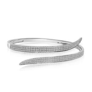 14K White Gold Crossover 1.35 Ct Diamond Fashion Bangle Bracelet