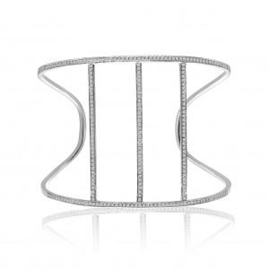 14K White Gold 3 Bar 1.10 Ct Diamond Cuff Bracelet