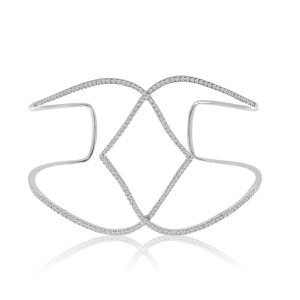 14K White Gold Geometric Swirl Diamond Cuff