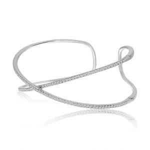 14K White Gold Criss Cross Diamond Fashion Cuff