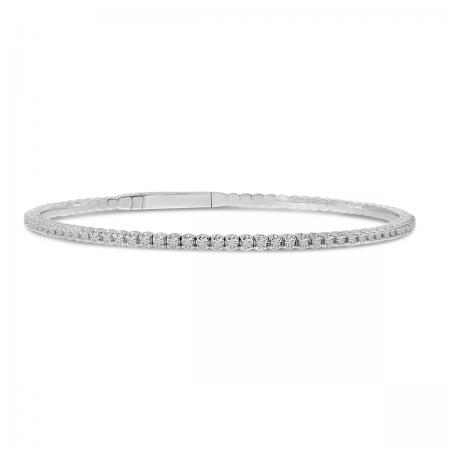 14K White Gold Flexible Diamond Bracelet