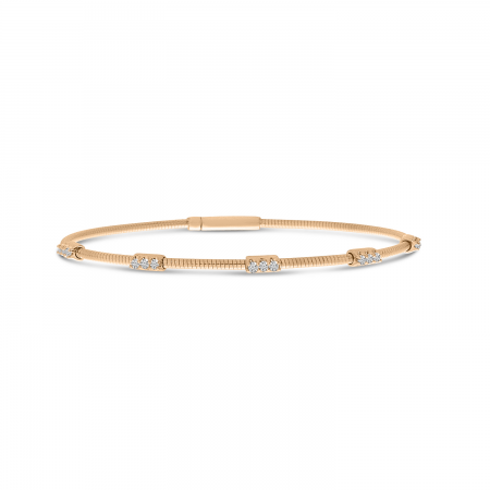 14K Rose Gold Flexible Diamond Bracelet