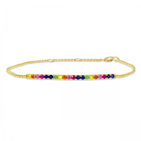 14K Yellow Gold Rainbow Sapphire Chain Bracelet