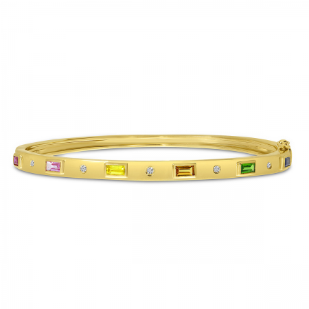 14K Yellow Gold Baguette Rainbow Sapphire and diamond Bangle Bracelet