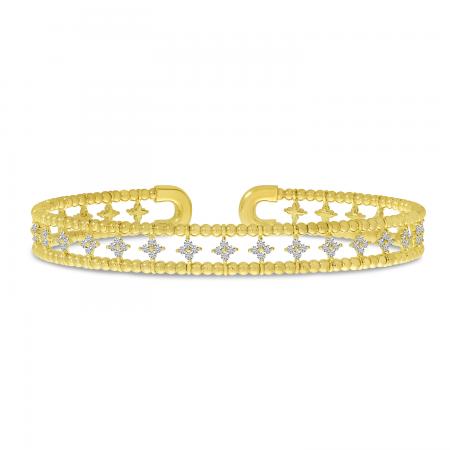 14K Yellow Gold Double Row Flower Diamond Flexible Cuff Bracelet
