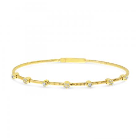 14K Yellow Gold Diamond Flexible Bracelet