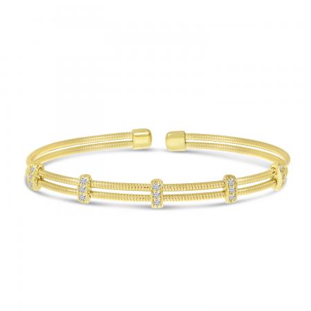 14K Yellow Gold Double Row Diamond Flexible Cuff Bracelet