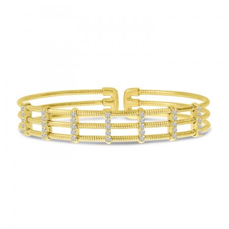 14K Yellow Gold Triple Row Diamond Flexible Cuff Bracelet