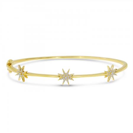 14K Yellow Gold Diamond Star Bangle Bracelet