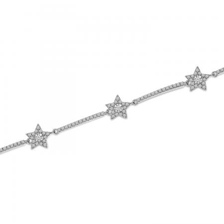 14K White Gold Diamond Star Bracelet