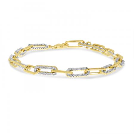 14K Yellow Gold Diamond Paper Clip Link Bracelet