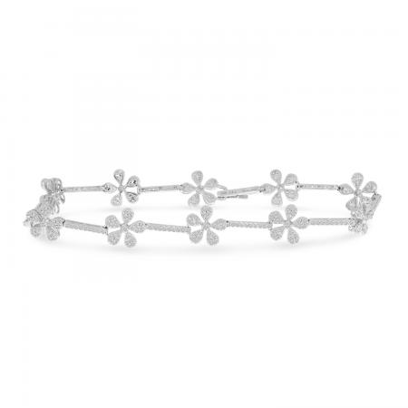 14K White Gold Diamond Floral Bracelet