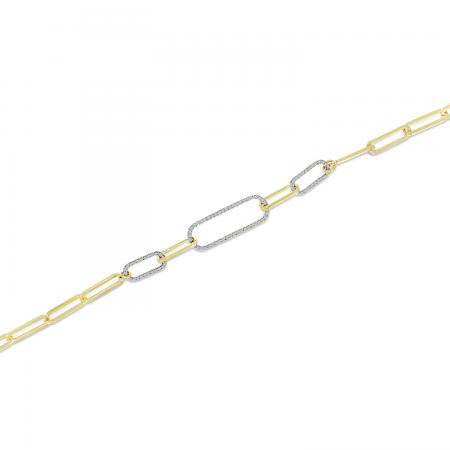 14K Yellow Gold Triple Paperclip Diamond Bracelet