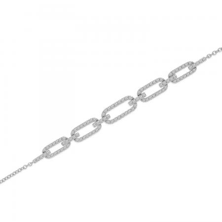14K White Gold Diamond Open Link Chain Bracelet