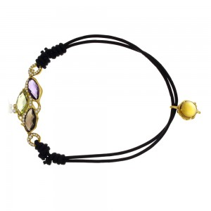 14K Yellow Gold Multi Stone Semi Precious Toggle Bracelet
