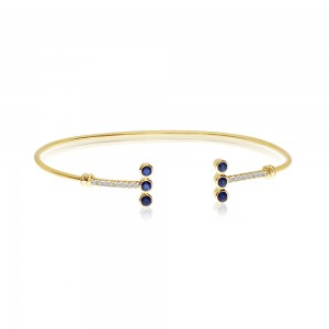 14K Yellow Gold Precious Triple Sapphire and Diamond Minimal Fashion Bangle