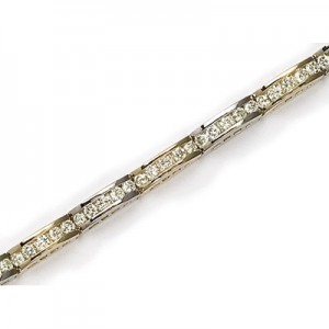14K Yellow Gold Diamond Channel Bracelet