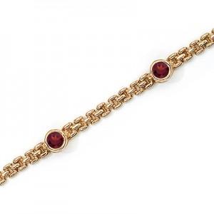 14K Yellow Gold Round Garnet Bracelet