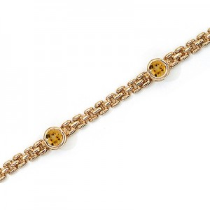 14K Yellow Gold Round Citrine Bracelet