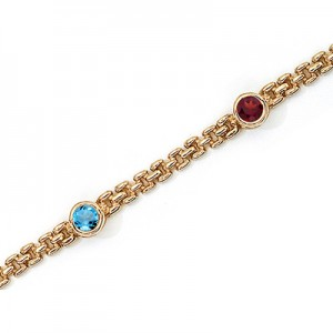 14K Yellow Gold Round Multi Bracelet