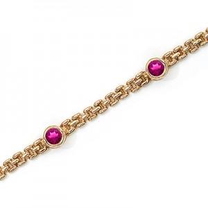 14K Yellow Gold Round Pink Topaz Bracelet