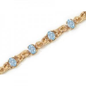 14K Yellow Gold Oval Aquamarine Bracelet