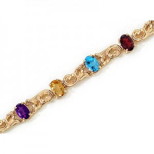 14K Yellow Gold Oval Multi Bracelet