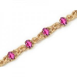 14K Yellow Gold Oval Pink Topaz Bracelet