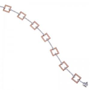 14k Two Tone Square Design Fashion Bracelet